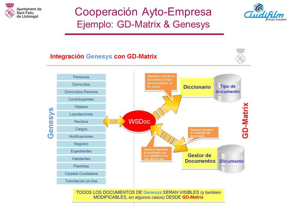 Cooperación Ayto-Empresa Ejemplo: GD-Matrix & Genesys