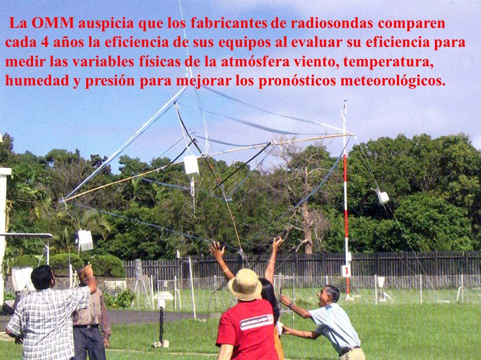 La OMM auspicia que los fabricantes de radiosondas comparen cada 4 años la eficiencia de sus equipos al evaluar su eficiencia para medir las variables físicas de la atmósfera viento, temperatura, humedad y presión para mejorar los pronósticos meteorológicos.