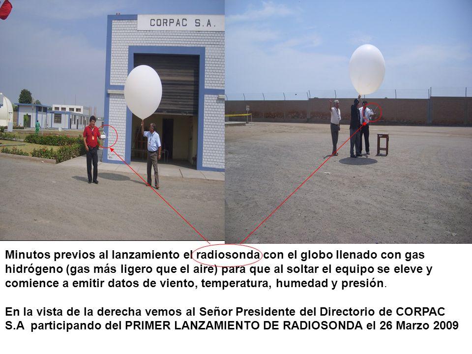 Minutos previos al lanzamiento el radiosonda con el globo llenado con gas hidrógeno (gas más ligero que el aire) para que al soltar el equipo se eleve y comience a emitir datos de viento, temperatura, humedad y presión.