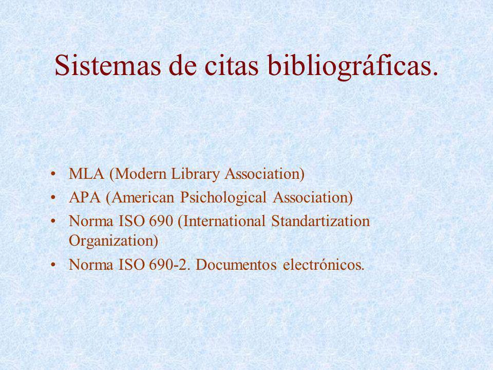Sistemas de citas bibliográficas.