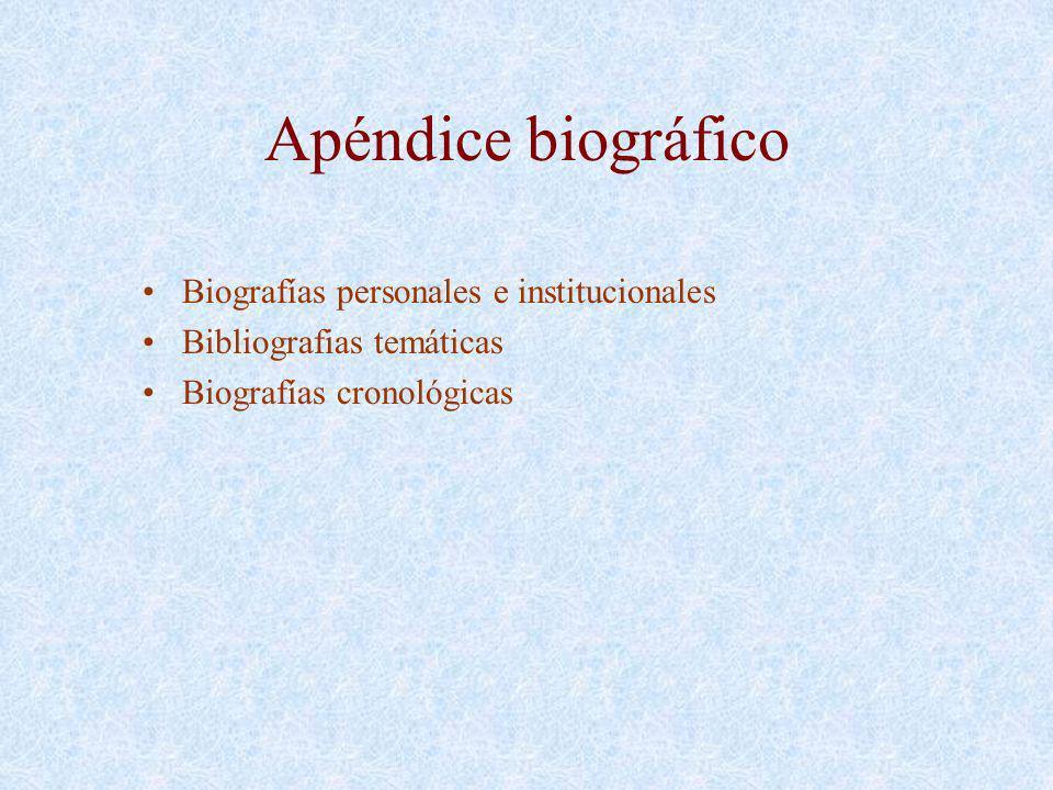 Apéndice biográfico Biografías personales e institucionales