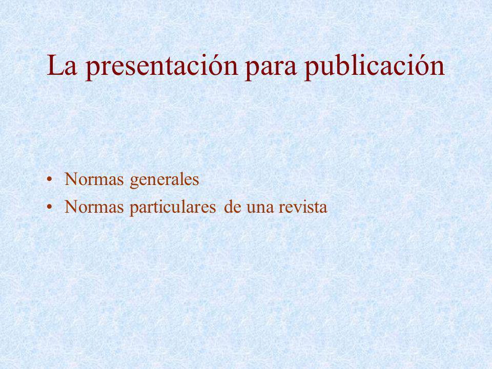 La presentación para publicación
