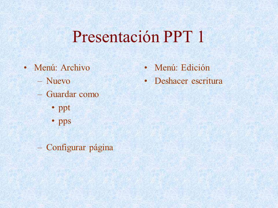 Presentación PPT 1 Menú: Archivo Nuevo Guardar como ppt pps