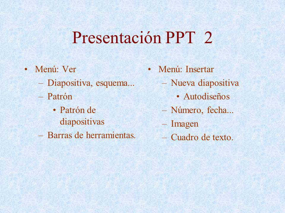 Presentación PPT 2 Menú: Ver Diapositiva, esquema... Patrón