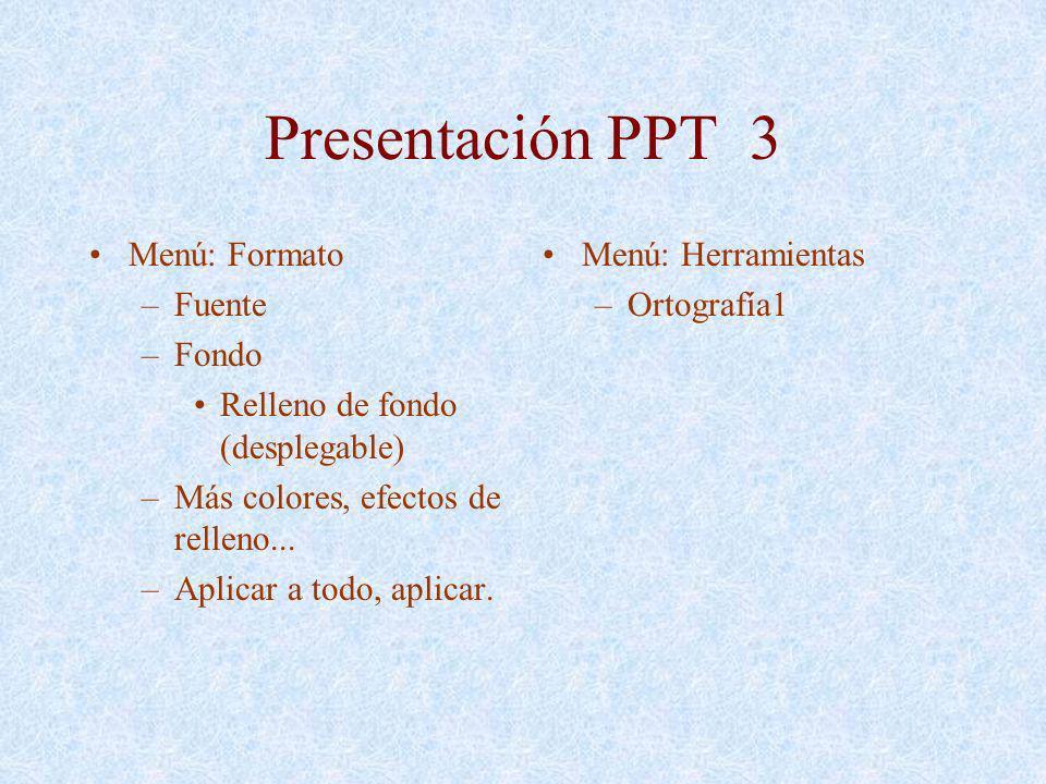 Presentación PPT 3 Menú: Formato Fuente Fondo