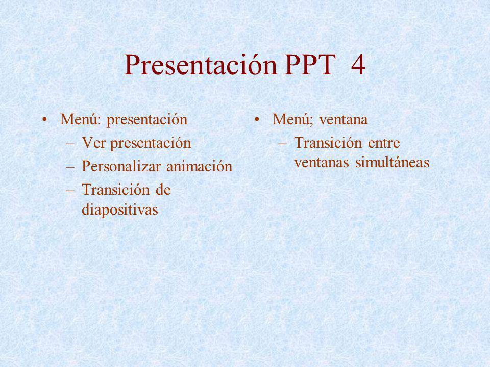 Presentación PPT 4 Menú: presentación Ver presentación