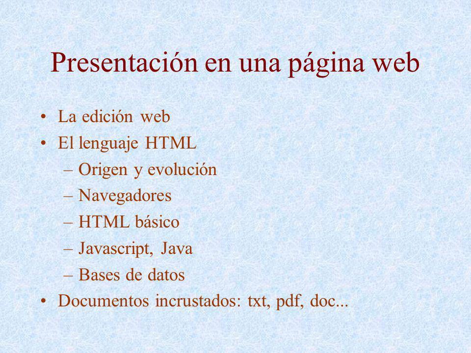 Presentación en una página web