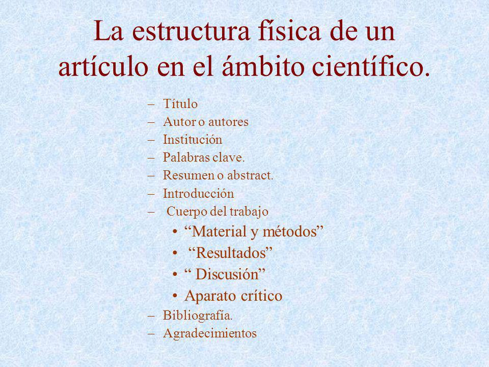 La estructura física de un artículo en el ámbito científico.