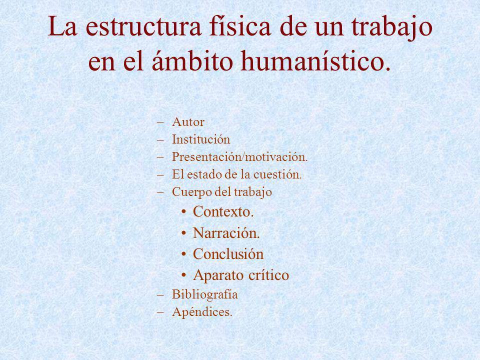 La estructura física de un trabajo en el ámbito humanístico.