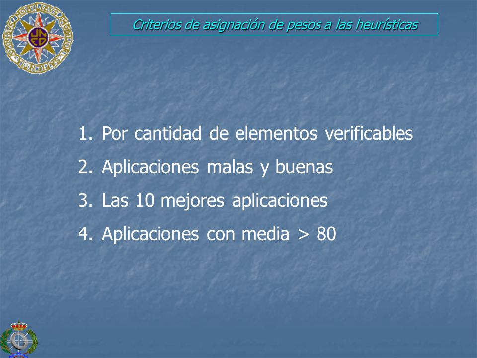 Criterios de asignación de pesos a las heurísticas