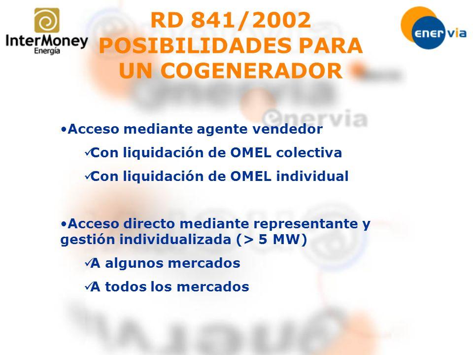 RD 841/2002 POSIBILIDADES PARA UN COGENERADOR