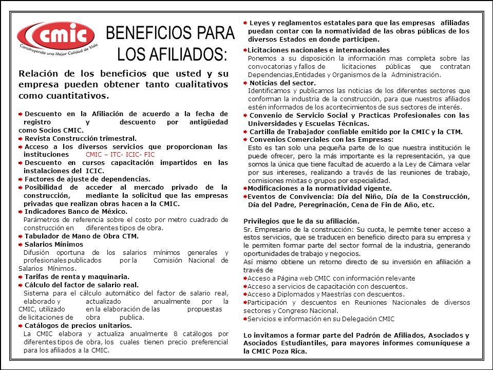 BENEFICIOS PARA LOS AFILIADOS: