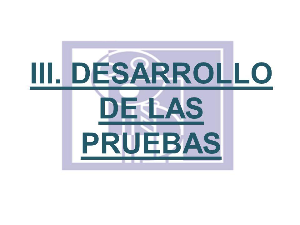 III. DESARROLLO DE LAS PRUEBAS