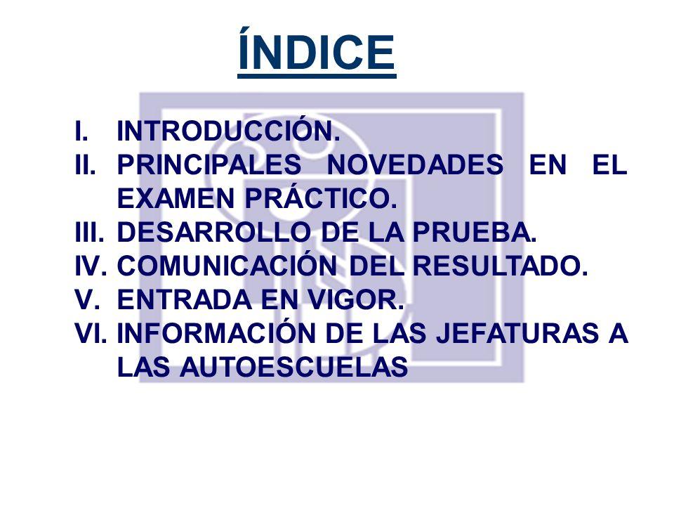 ÍNDICE INTRODUCCIÓN. PRINCIPALES NOVEDADES EN EL EXAMEN PRÁCTICO.