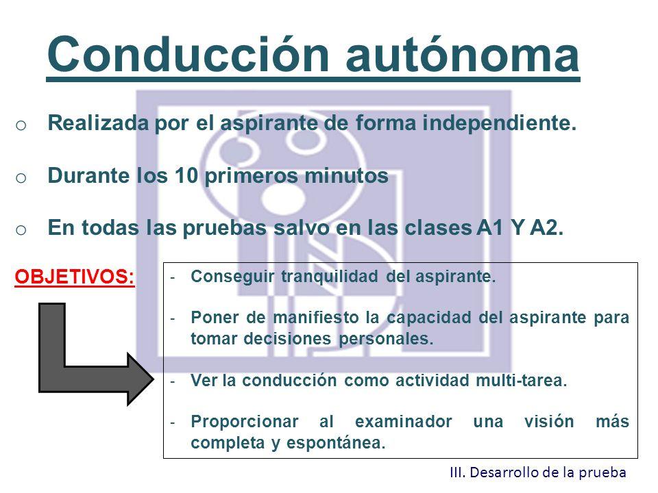 Conducción autónoma Realizada por el aspirante de forma independiente.