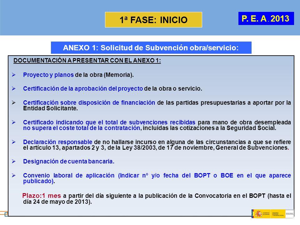 ANEXO 1: Solicitud de Subvención obra/servicio: