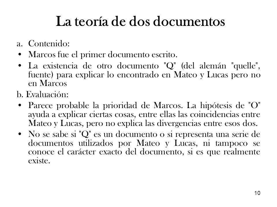 La teoría de dos documentos