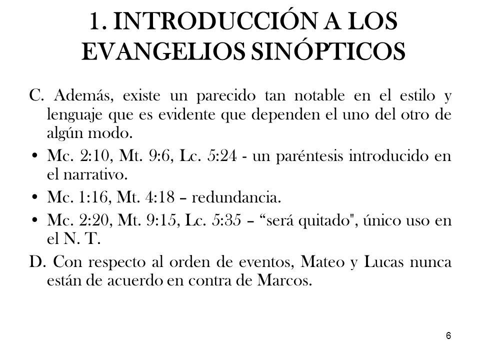 1. INTRODUCCIÓN A LOS EVANGELIOS SINÓPTICOS