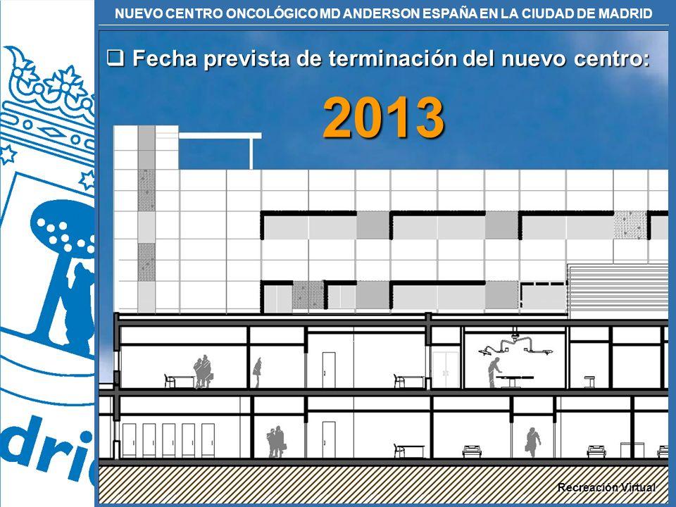 2013 Fecha prevista de terminación del nuevo centro: