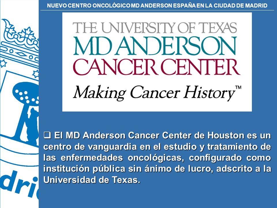 El MD Anderson Cancer Center de Houston es un centro de vanguardia en el estudio y tratamiento de las enfermedades oncológicas, configurado como institución pública sin ánimo de lucro, adscrito a la Universidad de Texas.