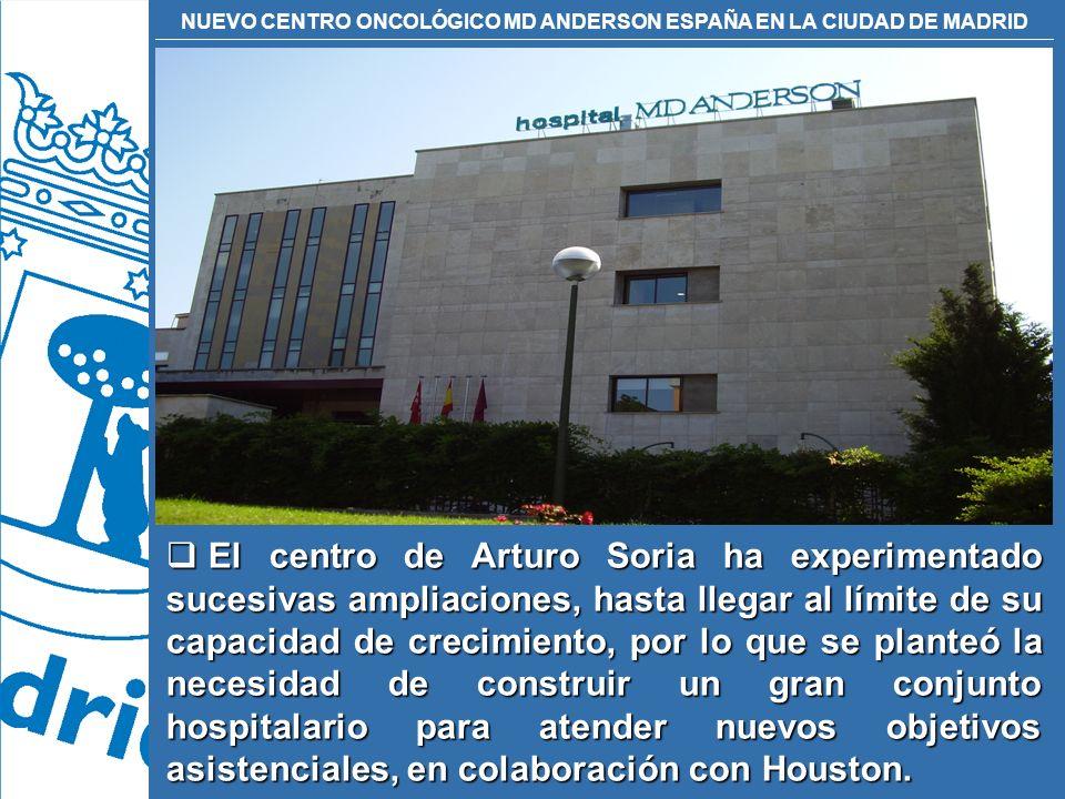 El centro de Arturo Soria ha experimentado sucesivas ampliaciones, hasta llegar al límite de su capacidad de crecimiento, por lo que se planteó la necesidad de construir un gran conjunto hospitalario para atender nuevos objetivos asistenciales, en colaboración con Houston.