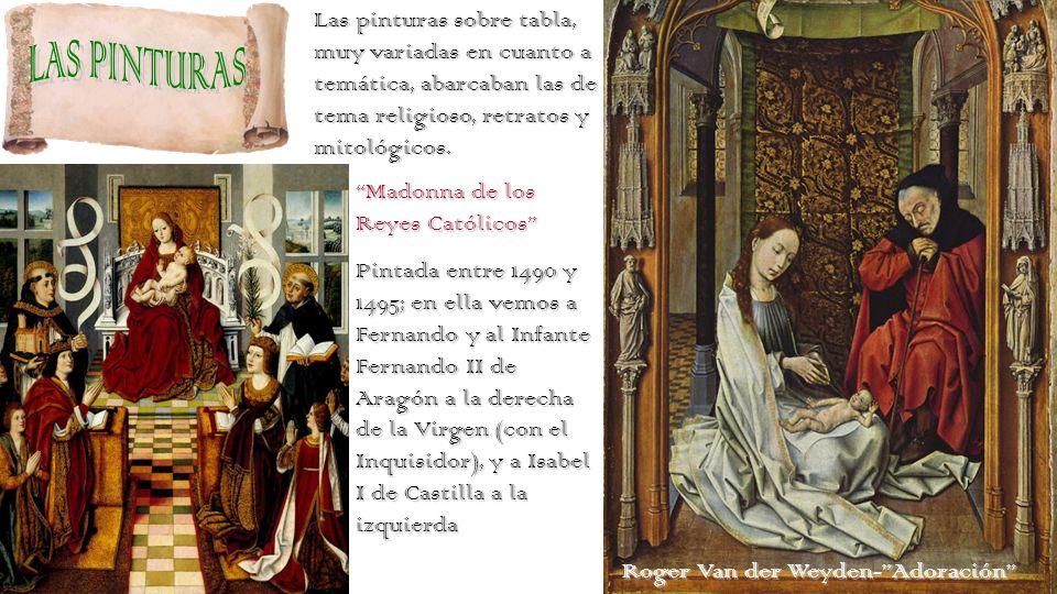 Las pinturas sobre tabla, muy variadas en cuanto a temática, abarcaban las de tema religioso, retratos y mitológicos.