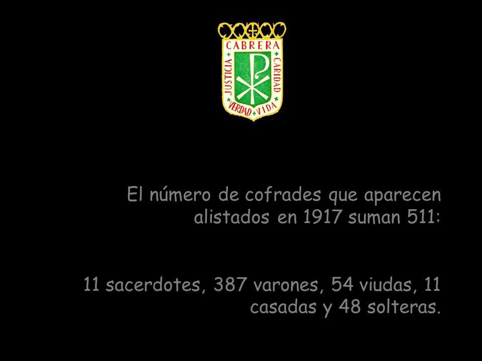 El número de cofrades que aparecen alistados en 1917 suman 511: