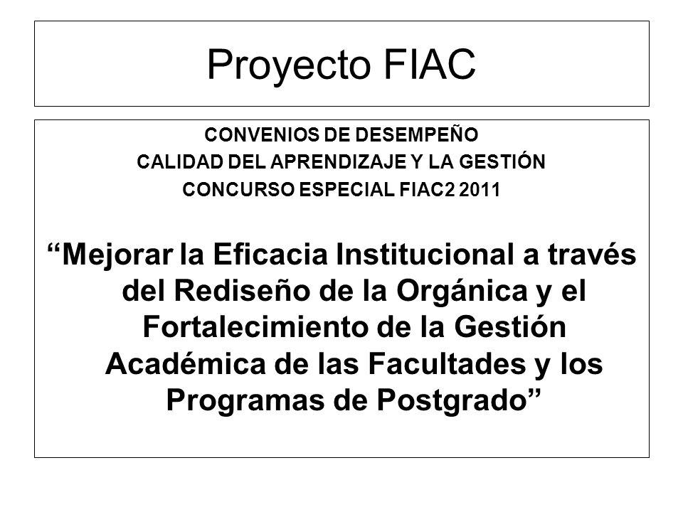 Proyecto FIAC CONVENIOS DE DESEMPEÑO. CALIDAD DEL APRENDIZAJE Y LA GESTIÓN. CONCURSO ESPECIAL FIAC2 2011.
