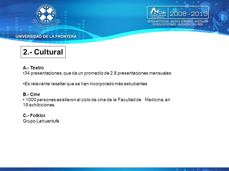 2.- Cultural A.- Teatro. 34 presentaciones, que da un promedio de 2.8 presentaciones mensuales.
