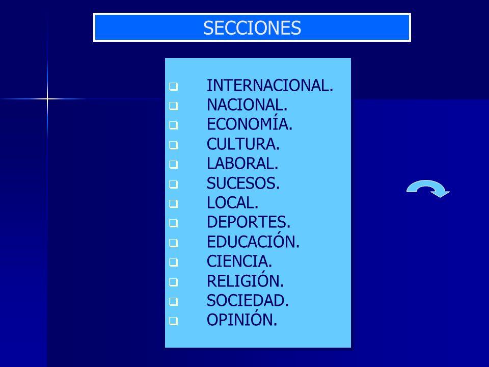 SECCIONES INTERNACIONAL. NACIONAL. ECONOMÍA. CULTURA. LABORAL.