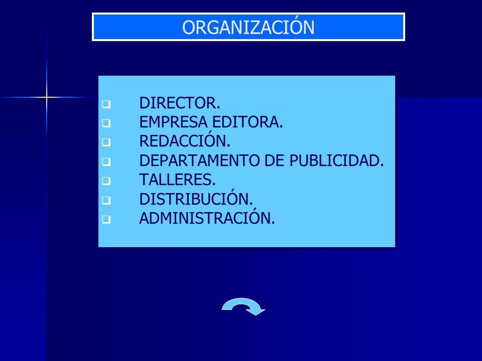 ORGANIZACIÓN DIRECTOR. EMPRESA EDITORA. REDACCIÓN.