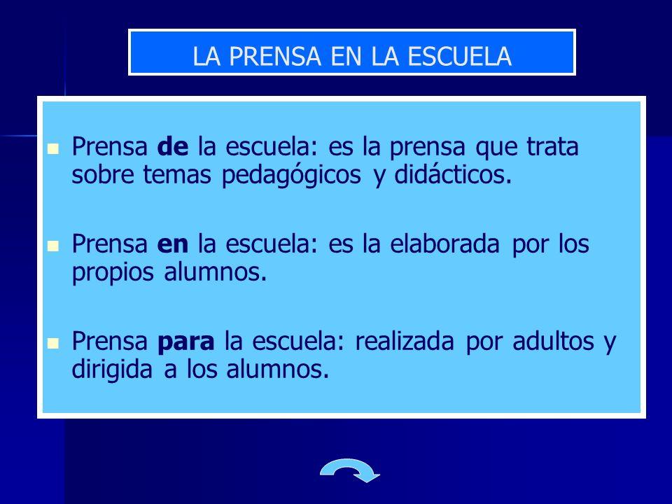 LA PRENSA EN LA ESCUELA Prensa de la escuela: es la prensa que trata sobre temas pedagógicos y didácticos.