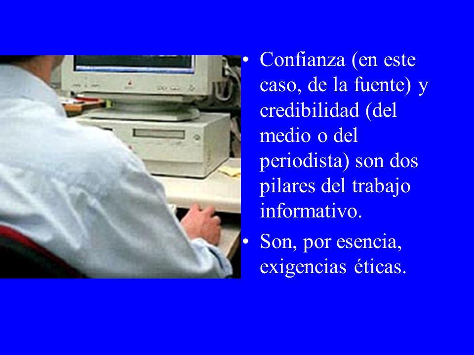 Confianza (en este caso, de la fuente) y credibilidad (del medio o del periodista) son dos pilares del trabajo informativo.