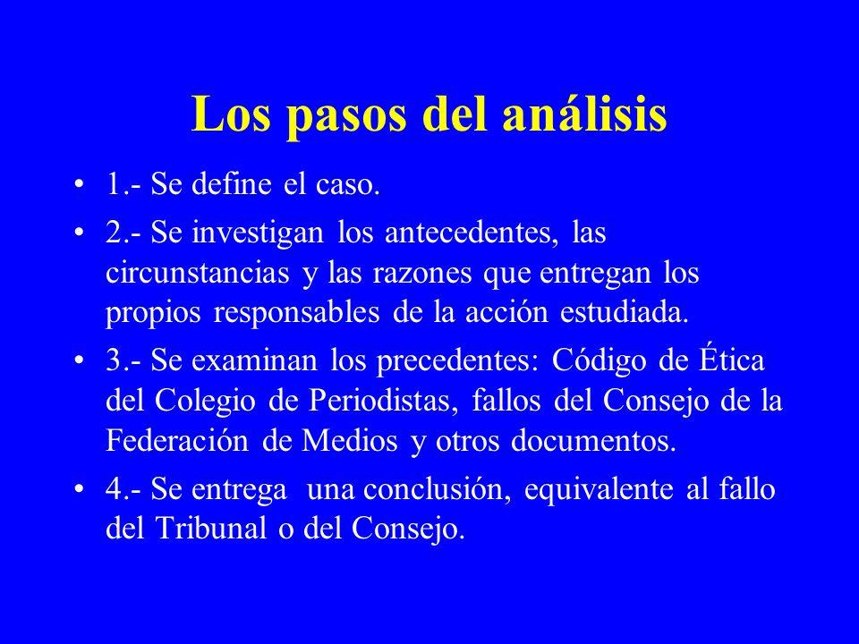 Los pasos del análisis 1.- Se define el caso.