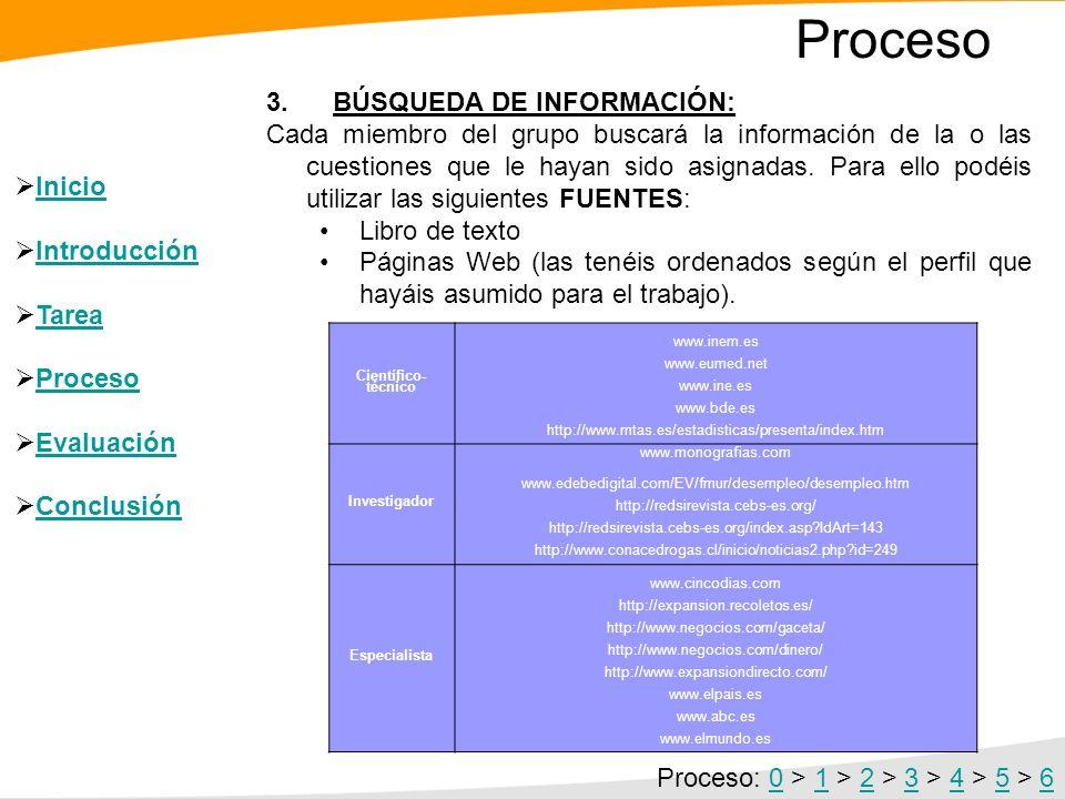 Proceso 3. BÚSQUEDA DE INFORMACIÓN: