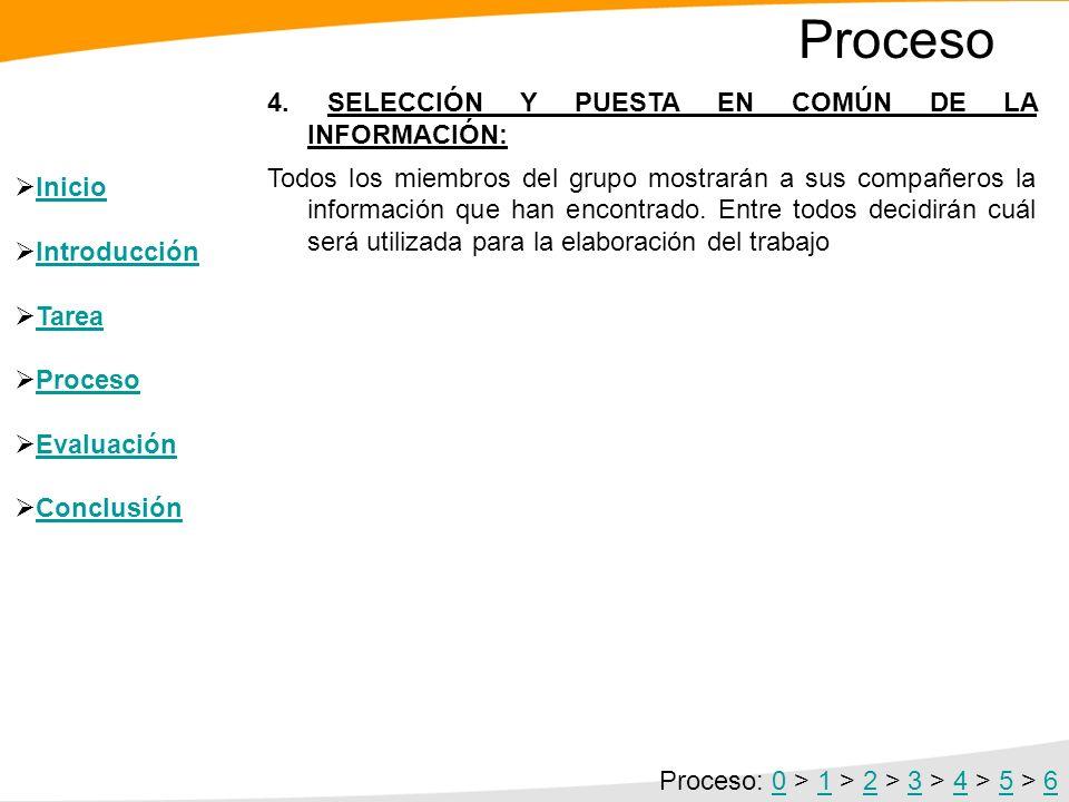 Proceso 4. SELECCIÓN Y PUESTA EN COMÚN DE LA INFORMACIÓN: