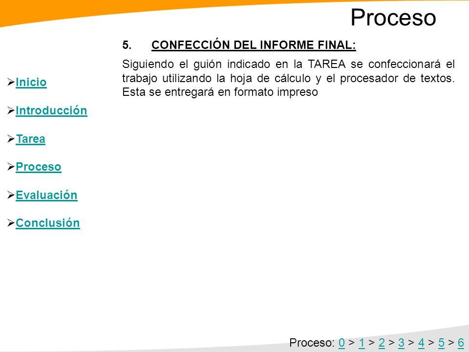 Proceso 5. CONFECCIÓN DEL INFORME FINAL: