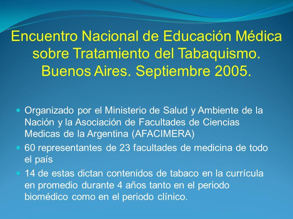 Encuentro Nacional de Educación Médica sobre Tratamiento del Tabaquismo. Buenos Aires. Septiembre 2005.