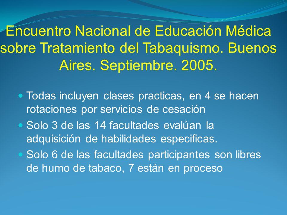 Encuentro Nacional de Educación Médica sobre Tratamiento del Tabaquismo. Buenos Aires. Septiembre. 2005.