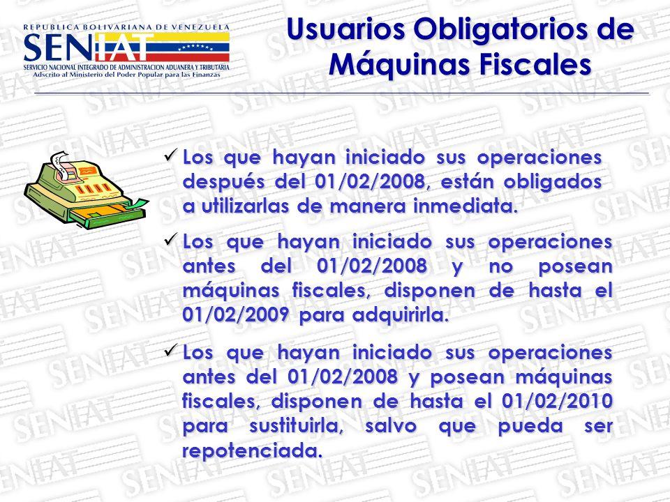 Usuarios Obligatorios de Máquinas Fiscales