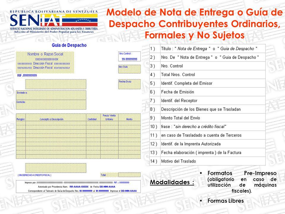 Modelo de Nota de Entrega o Guía de Despacho Contribuyentes Ordinarios, Formales y No Sujetos