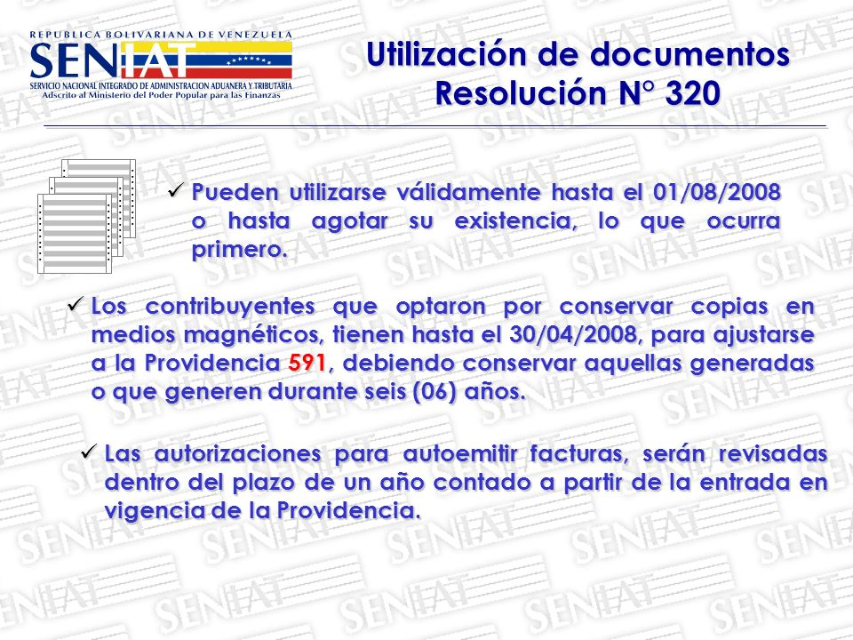 Utilización de documentos Resolución N° 320