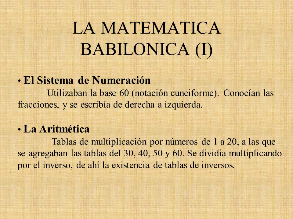 LA MATEMATICA BABILONICA (I)