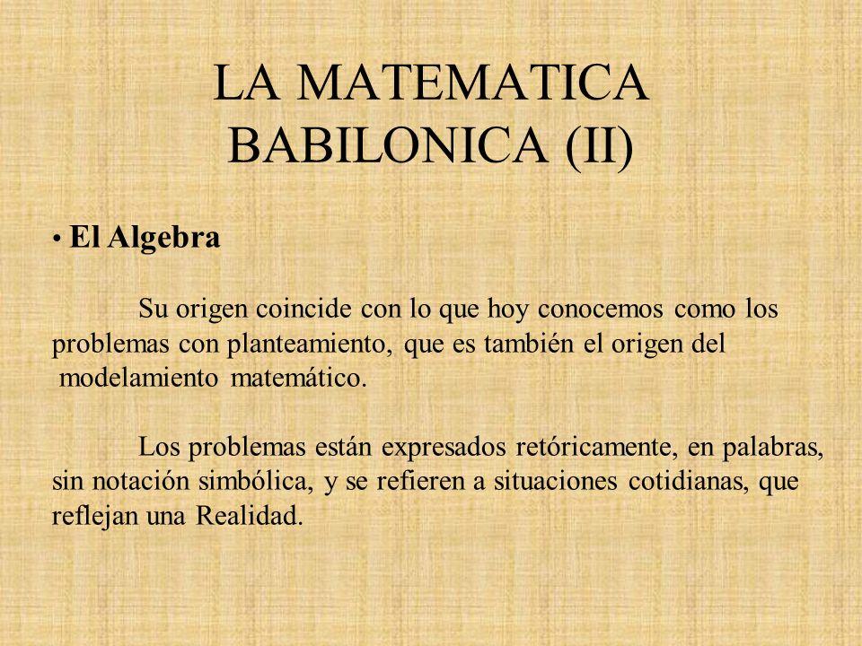 LA MATEMATICA BABILONICA (II)