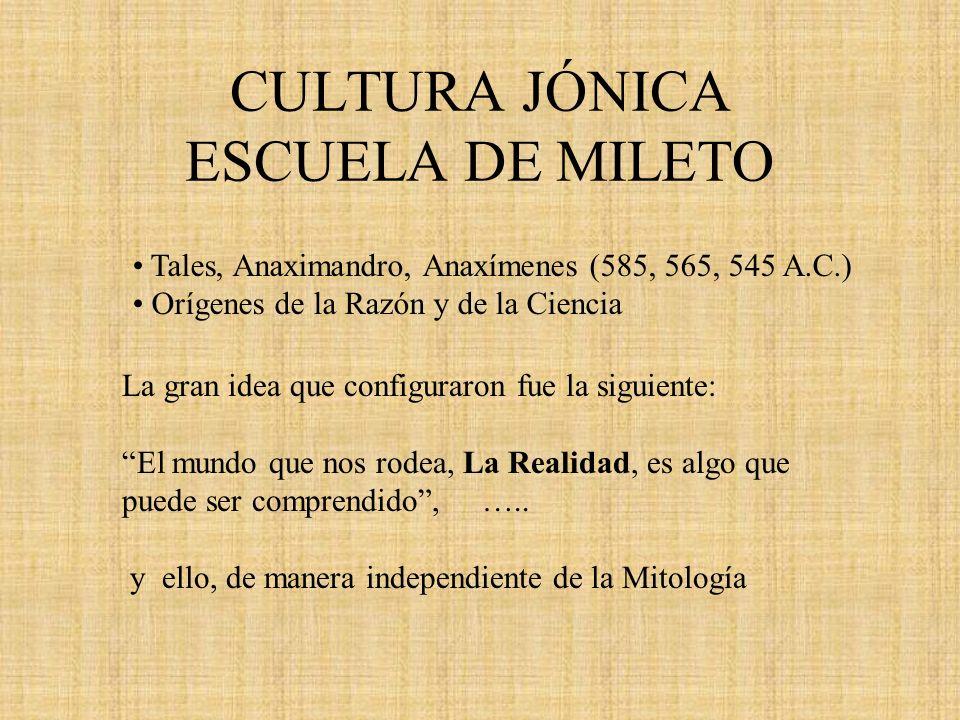 CULTURA JÓNICA ESCUELA DE MILETO