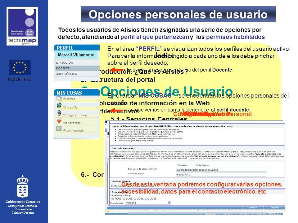 Opciones personales de usuario