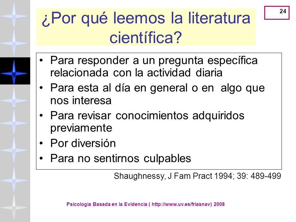 ¿Por qué leemos la literatura científica