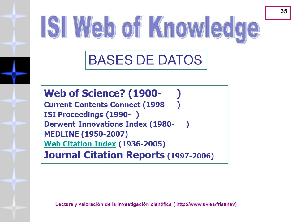 ISI Web of Knowledge BASES DE DATOS Web of Science (1900- )