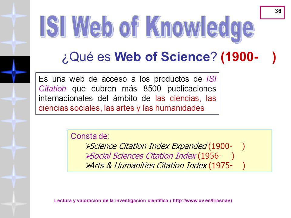 ISI Web of Knowledge ¿Qué es Web of Science (1900- )