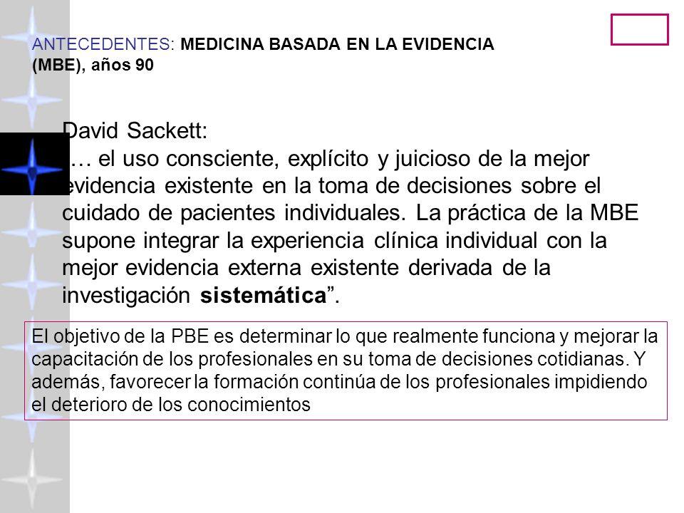 ANTECEDENTES: MEDICINA BASADA EN LA EVIDENCIA (MBE), años 90